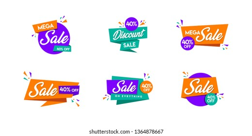 Set of trendy Sale logo, Discount and offer Unit, Vivid banners in retro poster design style. Fresh colours and shapes. Orange, purple & green - Vector, Icon, Label.