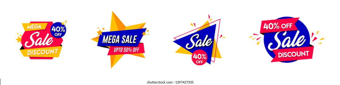 Set of trendy Sale logo, Discount and offer Unit, Vivid banners in retro poster design style. Fresh colours and shapes. Orange, purple & green - Vector, Icon, Label. - Vector