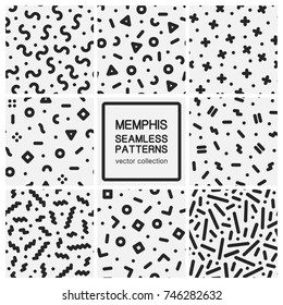 Set of trendy seamless patterns - memphis design. Abstract geometric backgrounds.