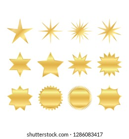 set of trendy shapes of retro stars. sunburst design elements. The golden, brilliant ray of fireworks. Best for sale sticker, price tag, quality mark. flat vector illustration isolated on white backgr