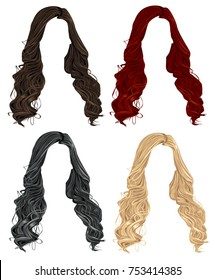 Set of trendy stylish long curly woman hair in brunette, black,blond and red colors. Realistic vector collection of cartoon hairstyles on a white background.
