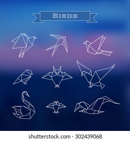 Set trendy stylized origami birds in a outline on a blurred background