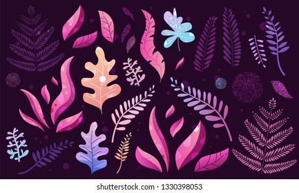 Set of trendy textured flat vector icons with violet and pink vibrant bright gradient plants, leaves, flowers, branches. Floral and botanical abstract modern collection of icons for design