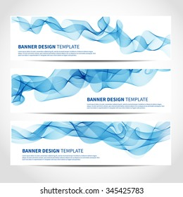 Set of trendy vector banners template or website headers with abstract blue waves background. Vector design illustration EPS10