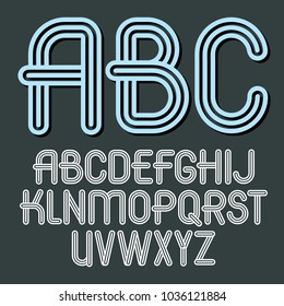 Set of trendy vector capital alphabet letters, abc isolated. Retro type font, script from a to z can be used for logo creation. Created using geometric triple stripes.