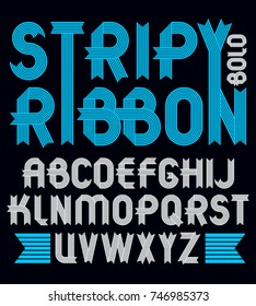 Set of trendy vector capital alphabet letters isolated. Geometric bold type font, script from a to z can be used for logo creation. Created using stripy ornate, parallel lines.