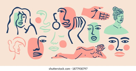 Set of trendy women doodle on isolated white background. Big abstract girl face collection, female body studies in freehand matisse art style. Includes continuous line drawing, classic statue bundle.