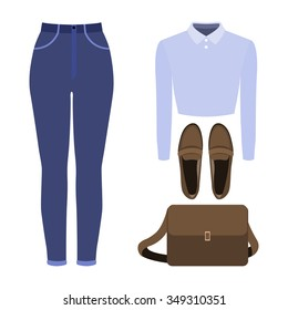 Set of trendy women's clothes. Outfit of woman jeans, blouse and accessories. Women's wardrobe. Vector illustration