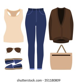 Set of trendy women's clothes. Outfit of woman jeans, cardigan, tank top and accessories. Women's wardrobe. Vector illustration