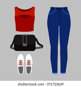 Set of trendy women's clothes. Outfit of woman jeans, top and accessories. Women's wardrobe. Vector illustration