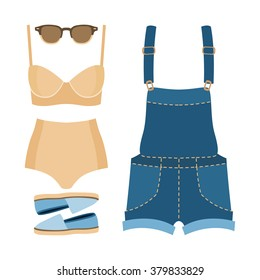 Set of trendy women's clothes. Outfit of woman swimsuit, denim overall and accessories. Women's wardrobe. Vector illustration