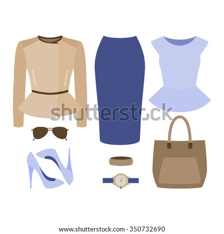 6fd014a11e3f3 Set of trendy women's clothes. Outfit of woman skirt, rocker jacket, blouse  and