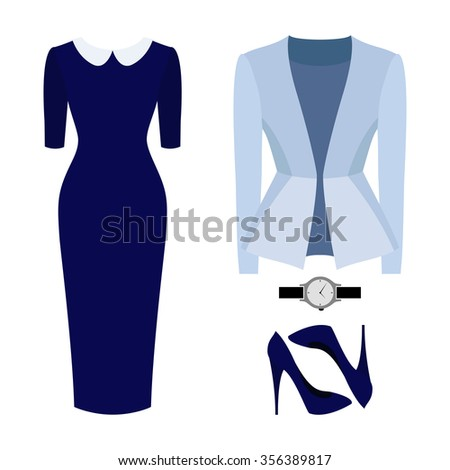 134fd8302b255 Set of trendy women's clothes. Outfit of woman dress, jacket and  accessories. Women's