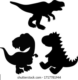 Set of t-rex dinosaur silhouettes. Vector illustration isolated on a white background. Jurassic dino monsters icons. Vector silhouettes of triceratops or T-rex,