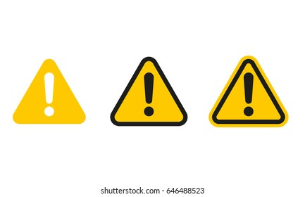 Set of triangle caution icons. Caution sign. Vector