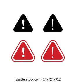 Set of triangle caution vector icons. Warning alert sign.