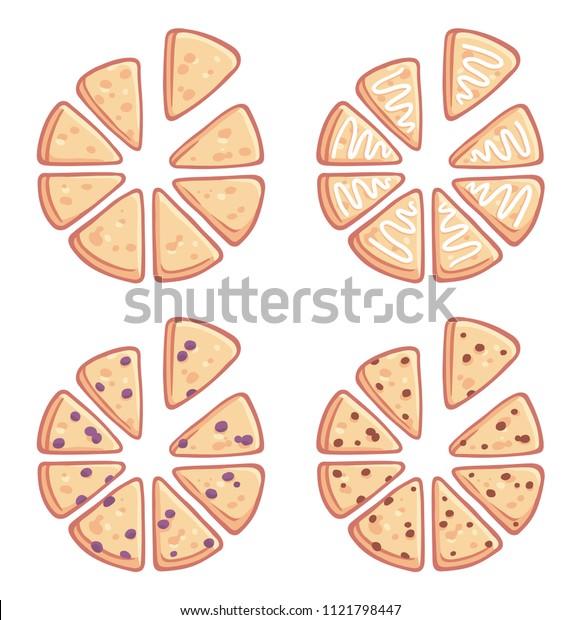 Set of triangle shaped homemade scones. Plain, glazed, blueberry and chocolate chip. Traditional English tea treats.