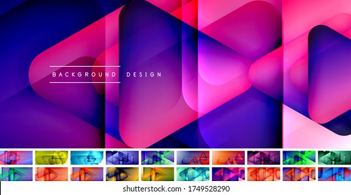 Set of triangle shapes composition geometric abstract backgrounds. 3D shadow effects and fluid gradients. Modern overlapping forms wallpaper for your text message