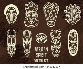 set of tribal african masks, vector illustration