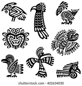 A set of tribal birds, black and white isolated vector