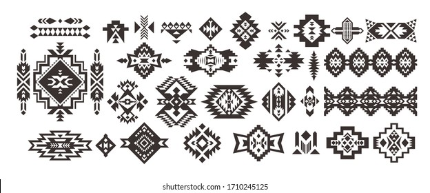 Set of Tribal decorative elements isolated on white background. Ethnic collection. Aztec geometric ornament.