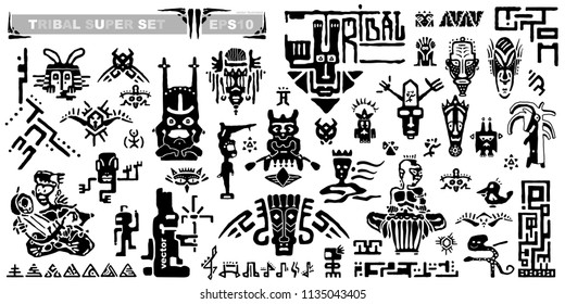 Set of tribal icons and musical notes. Ancient elements and symbols of the Maya. Black and white silhouette hand draws animals and fantastic creatures. Collection of cartoons ethnic style. Vector