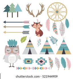 Set of tribal indian elements and animals which can be used for greeting, invitation card and poster. Vector illustrations