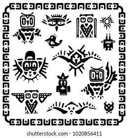 Set of tribal owls. Ancient maya elements and symbols. Black and white silhouette of birds. Cartoon collection of ethnic hand drawing style. Vector illustration