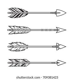 Set of tribal style arrows. Ethnic, boho design elements
