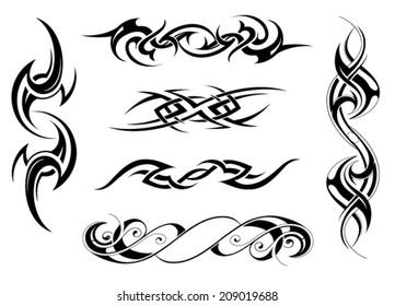 Set of tribal tattoo designs