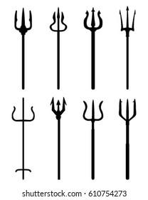 Set of trident, black silhouettes