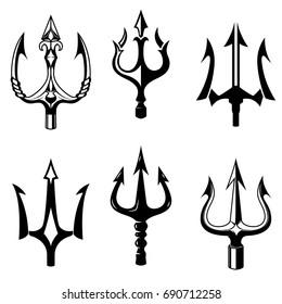 Set of trident icons isolated on white background. Design elements for logo, label, emblem, sign. Vector illustration