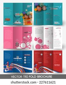 Set Of Tri-fold Brochure Design Element.