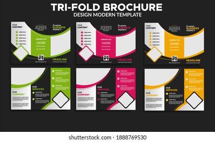 set of trifold brochure design template