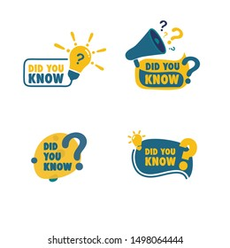 Set trivia icon, did you know bulb and megaphone icon vector isolated background