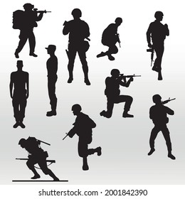 set Troops Soldiers silhouettes, line  isolated or logo isolated sign symbol vector,outline and stroke style Collection of high quality black style vector illustration
