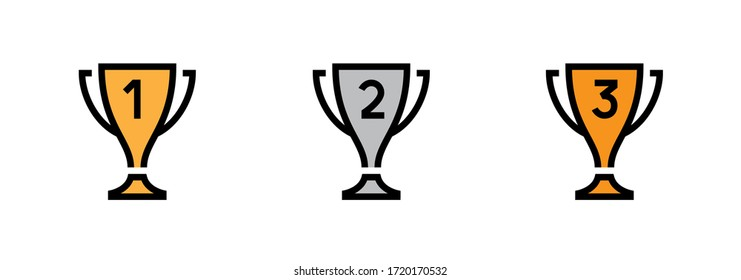 Set Trophy Cup icons. Editable Vector Stroke. Prizes for champions. First, second, third place. Gold, silver and bronze cups.
