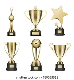 Set of trophy with golden stars, human figure with laurel wreath in hands statuettes and goblets on stand with nameplate realistic isolated vector. Sports prize or business award illustration