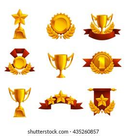 Set of trophy, medals and award. Vector illustration.