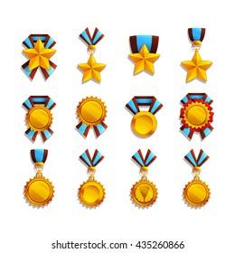 Set of trophy and medals . Vector illustration.