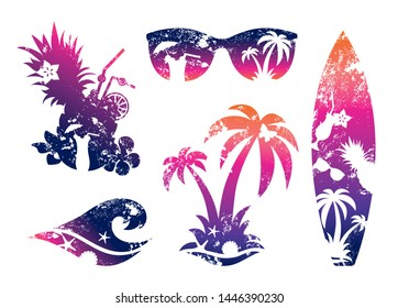 Set of tropical beach and surf prints. Silhouettes surfboard, palm trees, tropical cocktail, wave and sunglasses with gradient fill.