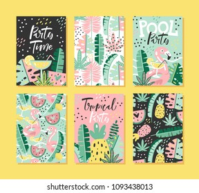 Set of tropical cards with lettering. Summer party invitations. Vector illustration.