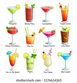 Set of tropical cocklails. Summer alcoholic holiday and beach party drinks. Long island, bloody mary, cosmopolitan, margarita, mai tai, pina colada, blue lagoon and etc. Vector illustration.