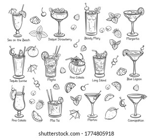 Set of tropical cocklails. Summer alcoholic drinks. Engraving holiday and beach party vector illustration. Long island, bloody mary, cosmopolitan, margarita, mai tai, pina colada, blue lagoon and etc.