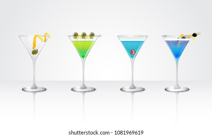 Set of tropical cocktails, mock-tails and juices in clear glasses with reflections. Vector illustration.