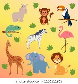 Designs include giraffe lion 90 x Jungle Animals Kids Stickers zebra ape tiger hippo