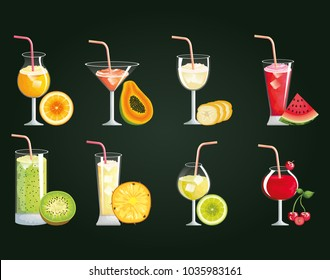 set tropical and exotic cocktails with fruits