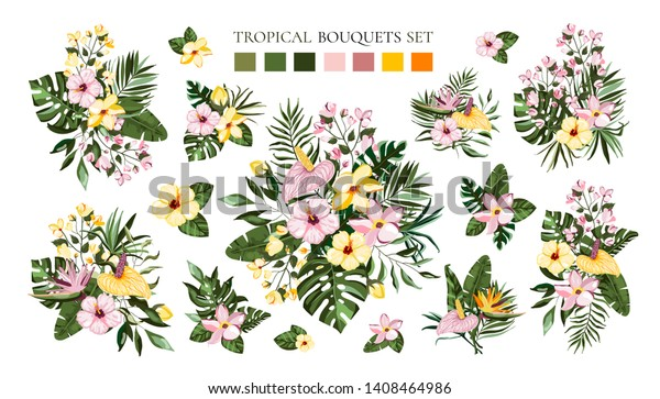 Set of tropical exotic flowers bouquets with frangipani hibiscus calla green monstera palm leaves. Floral branch arrangements wedding invitation save the date. Vector illustration in watercolor style