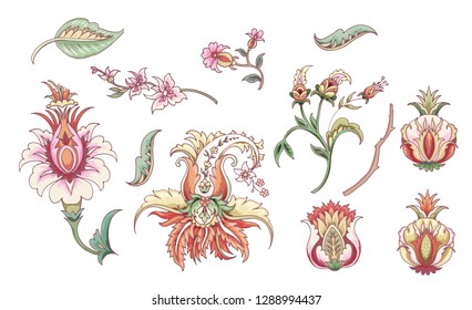 Set of tropical fantasy flowers