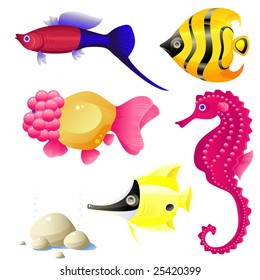 Set of tropical fish, stones, bubbles, vector, isolated on white